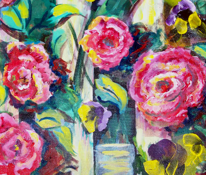 Gala Roses on a Picket Fence by Lisabelle 2009, acrylic on canvas, Flower Paintings by Lisabelle, THINK SPRING FLOWER PAINTINGS SERIES 2009, Garden Art, Pansies and Roses in paint