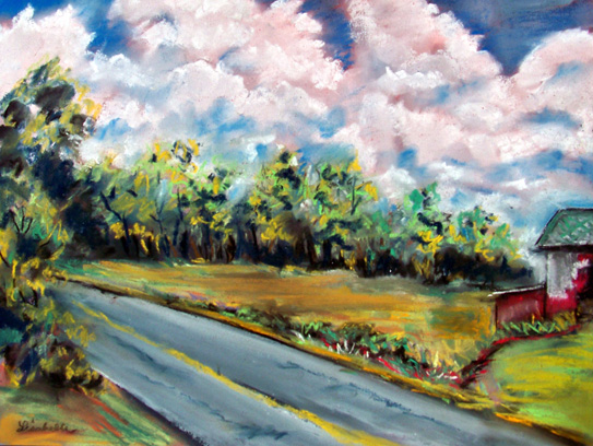 Plein Air Painting, Plein Air Art.  Landscapes in Pastels, Rural Scenery, Barn, Country Road, Painting of Thunder Clouds, trees.
