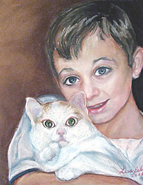 ROBERT and DOT the CAT 2007, Pastel portrait by Lisabelle, Portraits of People and Pets