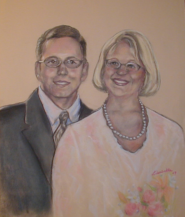 Newlywed Couples painted, Valentine's Day gifts of art, artistic realism in portraits, commission artist Lisabelle, paintings from photos, www.lisabelle-artist.com